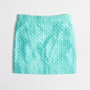 J. Crew Exploded Eyelet Mini Skirt Mint Teal